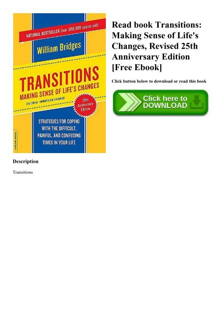 Read book Transitions Making Sense of Life's Changes  Revised 25th Anniversary Edition [Free Ebook]