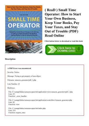 ( ReaD ) Small Time Operator How to Start Your Own Business  Keep Your Books  Pay Your Taxes  and Stay Out of Trouble (PDF) Read Online