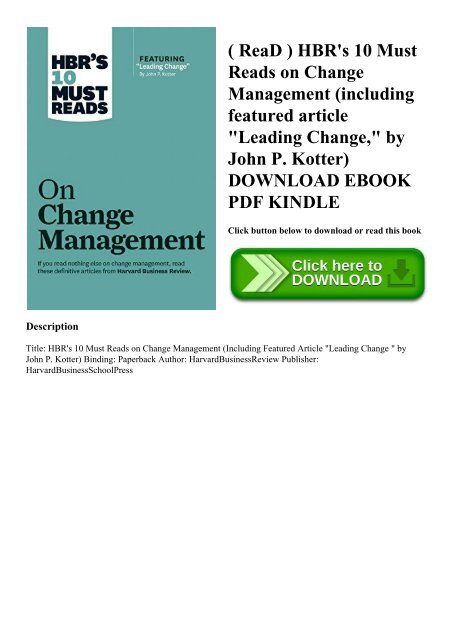 ReaD ) HBR's 10 Must Reads on Change Management (including