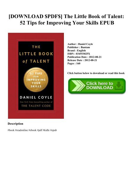 The Little Book Of Talent Epub