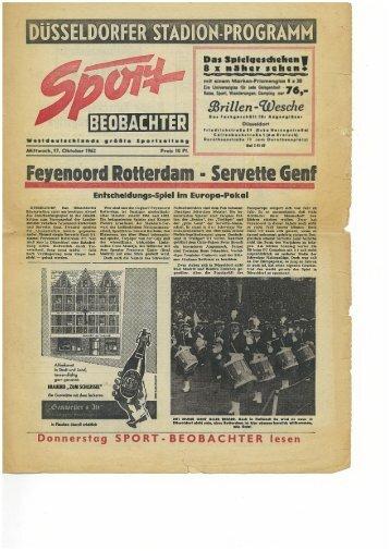 Barrage: Feyenoord Rotterdam - Servette FC (17.10.1962)