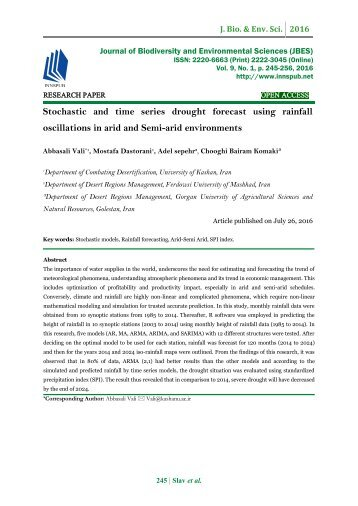 Stochastic and time series drought forecast using rainfall oscillations in arid and Semi-arid environments