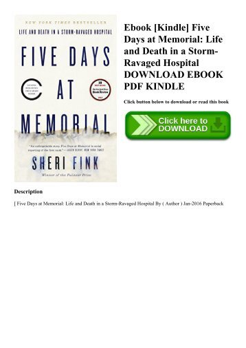 Ebook [Kindle] Five Days at Memorial Life and Death in a Storm-Ravaged Hospital DOWNLOAD EBOOK PDF KINDLE