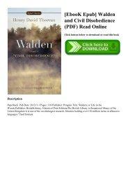 [EbooK Epub] Walden and Civil Disobedience (PDF) Read Online