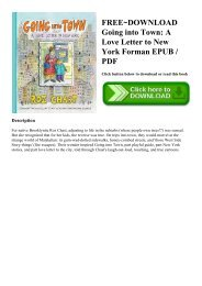 FREE~DOWNLOAD Going into Town A Love Letter to New York Forman EPUB  PDF