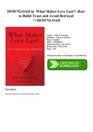 DOWNLOAD in PDF What Makes Love Last How to Build Trust and Avoid Betrayal DOWNLOAD