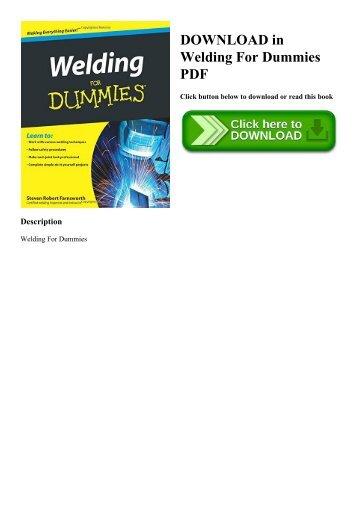 DOWNLOAD in PDF Welding For Dummies PDF