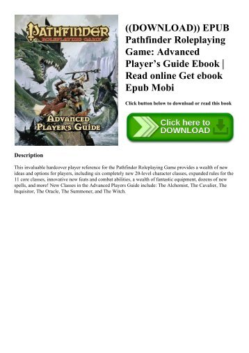 ((DOWNLOAD)) EPUB Pathfinder Roleplaying Game Advanced Player's Guide Ebook  Read online Get ebook Epub Mobi