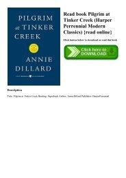 Read book Pilgrim at Tinker Creek (Harper Perrennial Modern Classics) {read online}