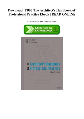 Handbook of the architecture practice pdf professional students