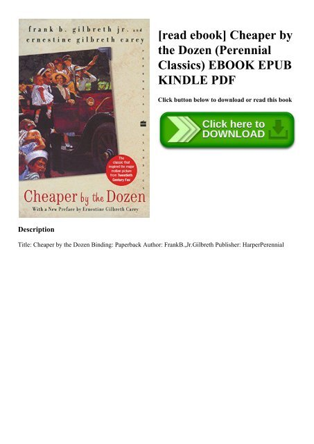 Cheaper By The Dozen Ebook
