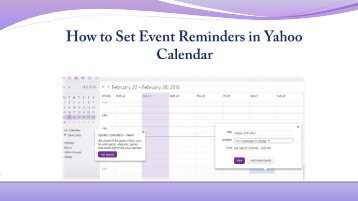 Set Your Event Reminders in Yahoo Calendar