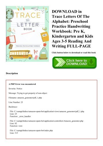 DOWNLOAD in PDF Trace Letters Of The Alphabet Preschool Practice Handwriting Workbook Pre K  Kindergarten and Kids Ages 3-5 Reading And Writing FULL-PAGE