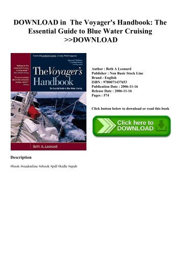 DOWNLOAD in PDF The Voyager's Handbook The Essential Guide to Blue Water Cruising DOWNLOAD
