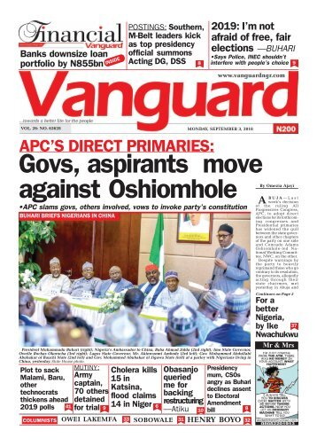 03092018 - APC'S DIRECT PRIMARIES: Govs, aspirants move against Oshiomhole