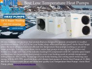 Best Low Temperature Heat Pumps