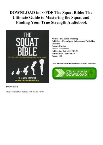 DOWNLOAD in PDF The Squat Bible The Ultimate Guide to Mastering the Squat and Finding Your True Strength Audiobook