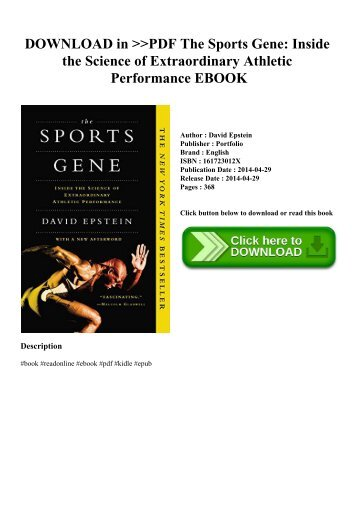 DOWNLOAD in PDF The Sports Gene Inside the Science of Extraordinary Athletic Performance EBOOK