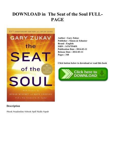 the seat of the soul gary zukav pdf free