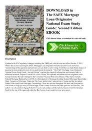 DOWNLOAD in PDF The SAFE Mortgage Loan Originator National Exam Study Guide Second Edition EBOOK