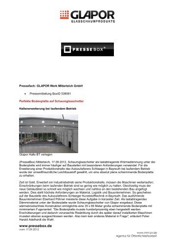 www.pressebox.de September - Glapor