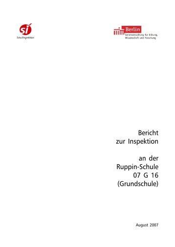 Bericht zur Inspektion an der  Ruppin-Schule 07 G  16 (Grundschule)