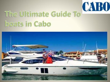 The Ultimate Guide To boats in Cabo