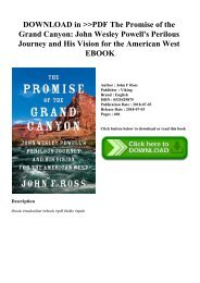 DOWNLOAD in PDF The Promise of the Grand Canyon John Wesley Powell's Perilous Journey and His Vision for the American West EBOOK