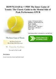 DOWNLOAD in PDF The Inner Game of Tennis The Classic Guide to the Mental Side of Peak Performance EPUB