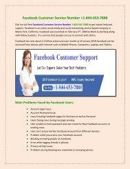 Facebook Customer Service +1-844-653-7888  Number