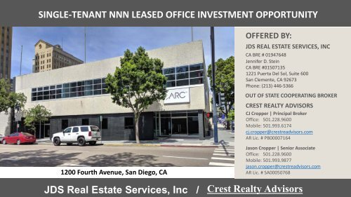 Crest Realty Advisors - Single Tenant Office Investment, San Diego