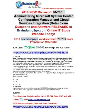 [2018-Sep-Version]Braindump2go New 70-703 Dumps with PDF and VCE 75Q Free Share(1-11)