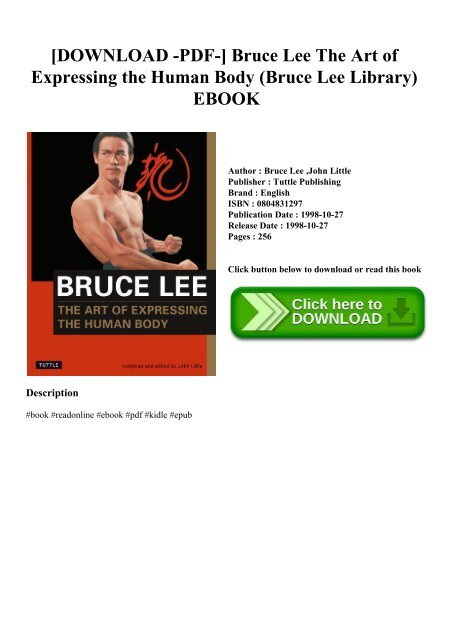 Download Pdf Bruce Lee The Art Of Expressing The Human Body Bruce Lee Library Ebook