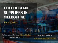 Cutter Blade Suppliers in Melbourne - Koga Blades