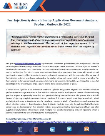 Fuel Injection Systems Industry Application Movement Analysis, Product, Outlook By 2022