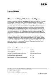 Pressemitteilung - SEB Asset Management