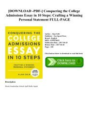 [DOWNLOAD -PDF-] Conquering the College Admissions Essay in 10 Steps Crafting a Winning Personal Statement FULL-PAGE