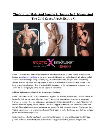 The Hottest Male And Female Strippers In Brisbane And The Gold Coast Are At Exotic X