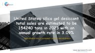 United States silica gel desiccant total sales are estimated to be 154240 tons in 2023 with an annual growth rate in 3.09%