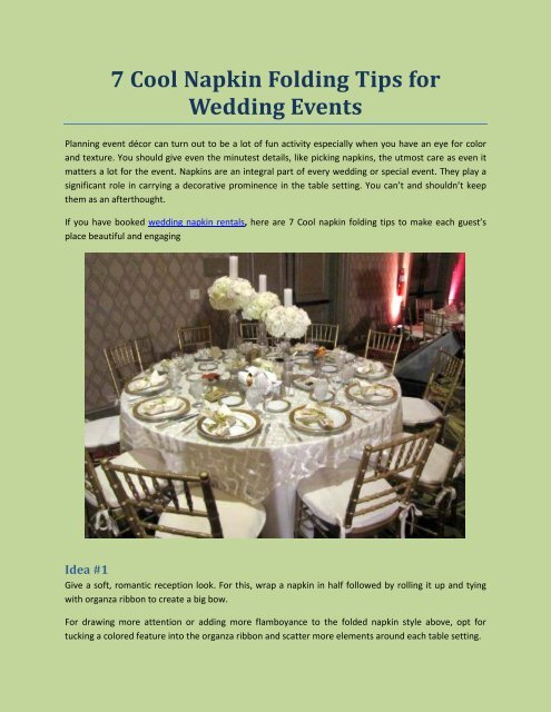 7 Cool Napkin Folding Tips For Wedding Events
