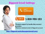 Update Bigpond Email Settings By Taking Tech Support| 1-800-980-183