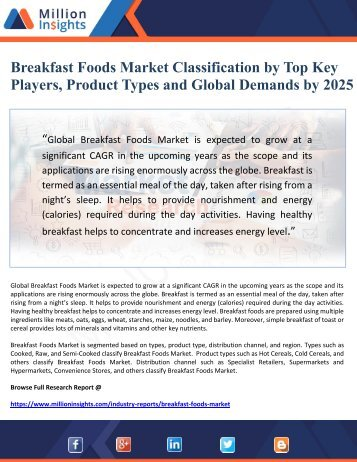 Breakfast Foods Market Classification by Top Key Players, Product Types and Global Demands by 2025