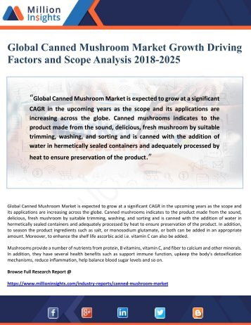 Global Canned Mushroom Market Growth Driving Factors and Scope Analysis 2018-2025