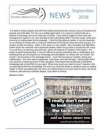September 2018 FRC Member Newsletter