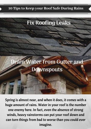 Fix Leaks to Save your Roof in Rains