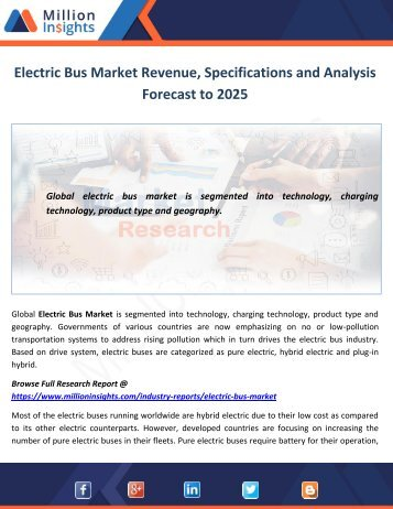Electric Bus Market Revenue, Specifications and Analysis Forecast to 2025