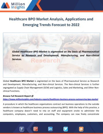 Healthcare BPO Market Analysis, Applications and Emerging Trends Forecast to 2022