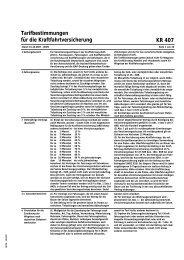 Tarifbestimmungen für die Kraftfahrtversicherung KR 407