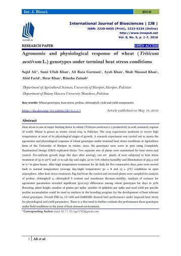 Agronomic and physiological response of wheat (Triticum aestivum L.) genotypes under terminal heat stress conditions