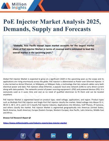 PoE Injector Market Analysis 2025, Demands, Supply and Forecasts
